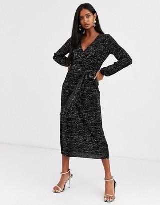 Asos Design DESIGN long sleeve glitter midi plisse tea dress-Black