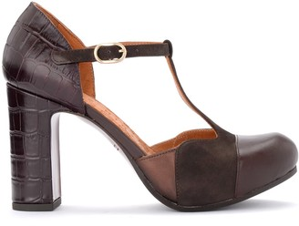 Chie Mihara Heeled Sandal Darco Model In Burgundy Leather And Suede With Crocodile Print