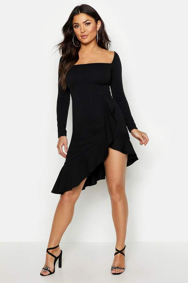 boohoo Square Neck Ruffle Hem Midi Dress