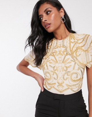 Virgos Lounge embellished bodysuit in gold