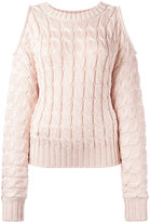 Balmain cold shoulder cable-knit jumper - women - Polyamide/Viscose - 36