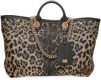 Dolce & Gabbana Capri Large Leopard Shopping Tote Bag