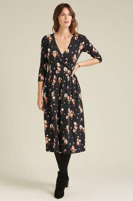Fat Face Womens FatFace Black Eadie Painted Floral Midi Dress - Black