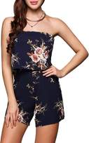 Qearal Womens Off Shoulder Floral Short Jumpsuit Strapless Summer Boho Rompers Playsuit (US=6, )
