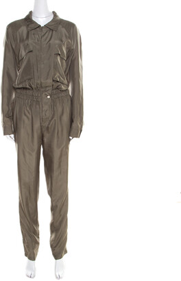 Gucci Olive Green Silk Clinched Waist Tapered Jumpsuit M