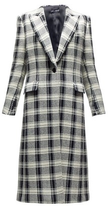 Dolce & Gabbana Checked Single-breasted Wool-blend Coat - Black White