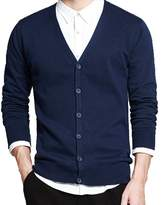 IVANNIE Men's Basic Long Sleeve Button Down V Neck Knitted Cardigan Tag L - US S