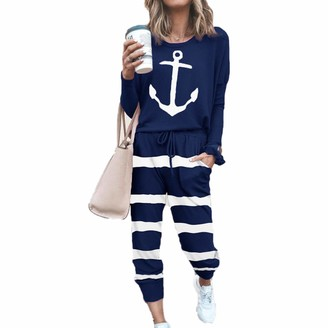 Oukeep Autumn Women's European and American Tie-Dye Fashion Home Pajamas Set Casual Loose-Fitting Trousers Vacation Travel Outing 2-Piece Set