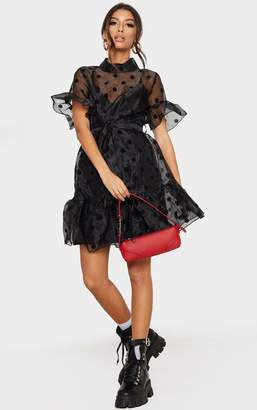 PrettyLittleThing Black Polka Dot Organza Frill Hem Smock Dress