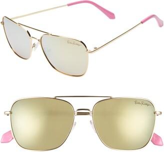 Lilly Pulitzer Kate 55mm Polarized Aviator Sunglasses