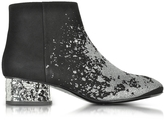 McQ by Alexander McQueen Shacklewell Silver Glitter Printed Suede Bootie