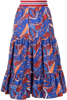 Stella Jean abstract-print A-line midi skirt
