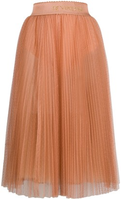 Elisabetta Franchi Pleated Tulle Midi Skirt