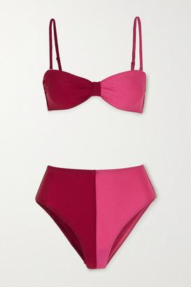 Leslie Amon Thea Two-tone Bandeau Bikini - Pink