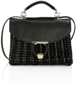 Salvatore Ferragamo Small Leather-Trimmed Woven Top Handle Bag