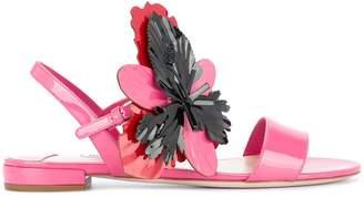 Miu Miu flower appliqué sandals