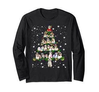 Shih Funny Tzu Christmas Tree Tee Ornament Decor Gift Long Sleeve T-Shirt