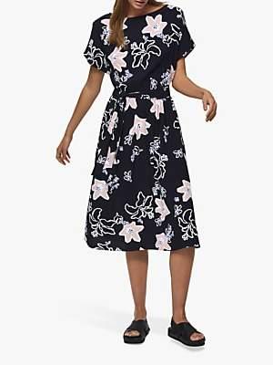 Selected Rinna Vienna Floral Print Midi Dress, Night Sky