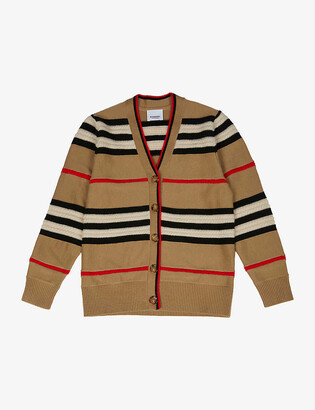Burberry Leeta striped wool and cashmere blend cardigan 3-14 years