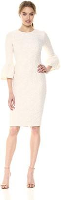 Betsy & Adam Women's Short Jacquard Bell Sleeve Dress