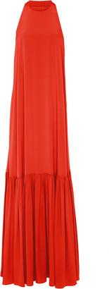 Tibi Pleated Silk-Chiffon Halterneck Dress