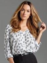 M&Co V neck pleat front blouse