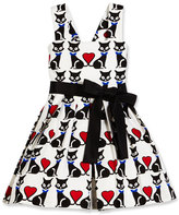 Helena Sleeveless Pleated Fit-and-Flare Kitty Dress, Black/White, Size 7-14