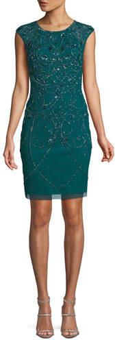 Aidan Mattox Jewel-Neck Cap-Sleeve Art Deco Beaded Fitted Cocktail Dress