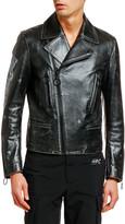 Off-White Off White Men's Arrow Vintage Leather Biker Jacket