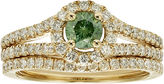 JCPenney MODERN BRIDE 1 CT. T.W. Certified White and Color-Enhanced Green Diamond Bridal Ring Set