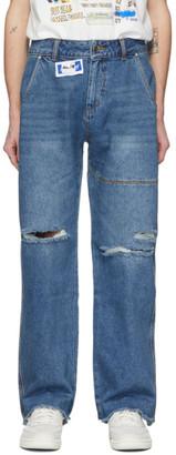 Ader Error Blue Oversized Washed Jeans