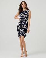 Le Château Knit Dot Print Faux Wrap Dress