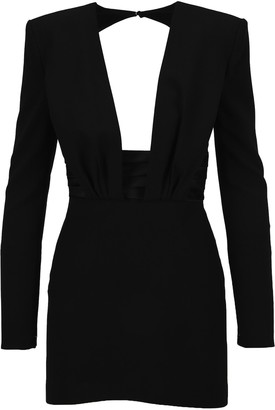 Saint Laurent Structured V-Neck Open Back Mini Dress