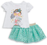 Flapdoodles Girls 2-6x Little Girls Graphic Tee and Tulle Skirt Set