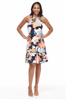 London Times Women's Petite Keyhole Halter with Flounce Hem Dress