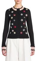Fendi Flower Stud-Detail Cashmere & Silk Cardigan
