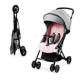 Kurt Geiger Kinderkraft Lightweight Stroller LITE UP, Baby Pushchair, Buggy, Compact Folding, Ajustable Footrest, with Accessories, Rain Cover, Footmuff, Cup Holder, from Birth to 3.5 Years, 0-15 kg, Pink