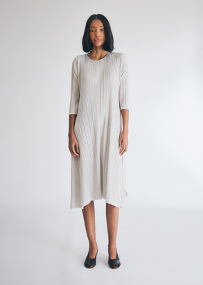 Pleats Please Issey Miyake Women's Mellow Pleats Dress in Pearl White, Size 4
