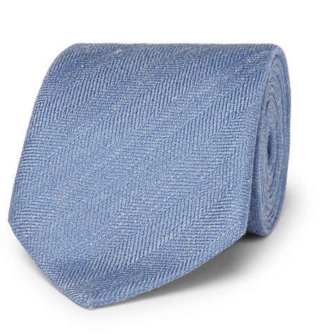 Charvet 7.5cm Herringbone Silk And Linen-Blend Tie