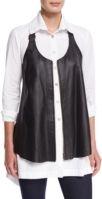 XCVI Plus Size Upstage Perforated Leather Moto Vest