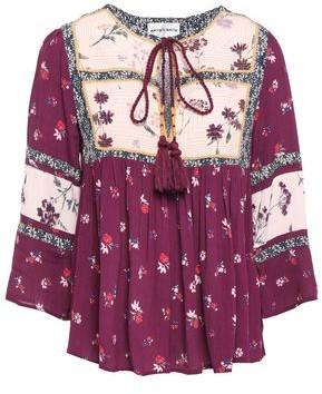 Antik Batik Bowo Patchwork-effect Floral-print Crepe De Chine Blouse