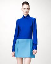 Detachable-Collared Colorblock Dress, Blue