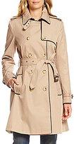 Lauren Ralph Lauren Faux Leather Trim Trench Coat