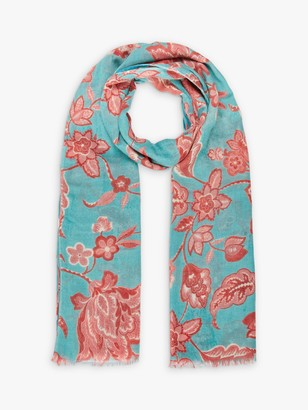 Brora Floral Vine Wool Stole Scarf, Pomegranate/Shell