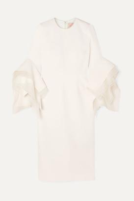 Roksanda Tulle-trimmed Crepe Midi Dress - Ivory