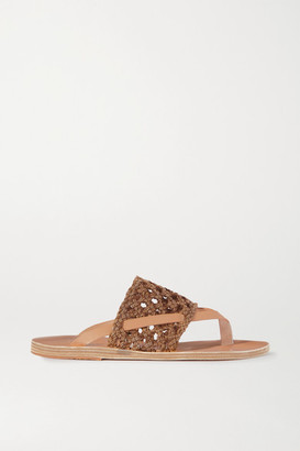 Ancient Greek Sandals Zenobia Woven Leather Slides - Brown