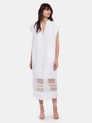 Tela Lampone Semi Sheer Midi Dress