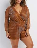 Charlotte Russe Plus Size Shimmer Mesh Surplice Romper