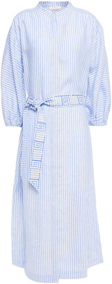 Tory Burch Belted Embroidered Striped Linen Midi Shirt Dress