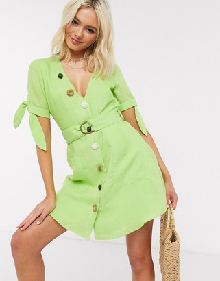 Moon River belted mini dress in lime green